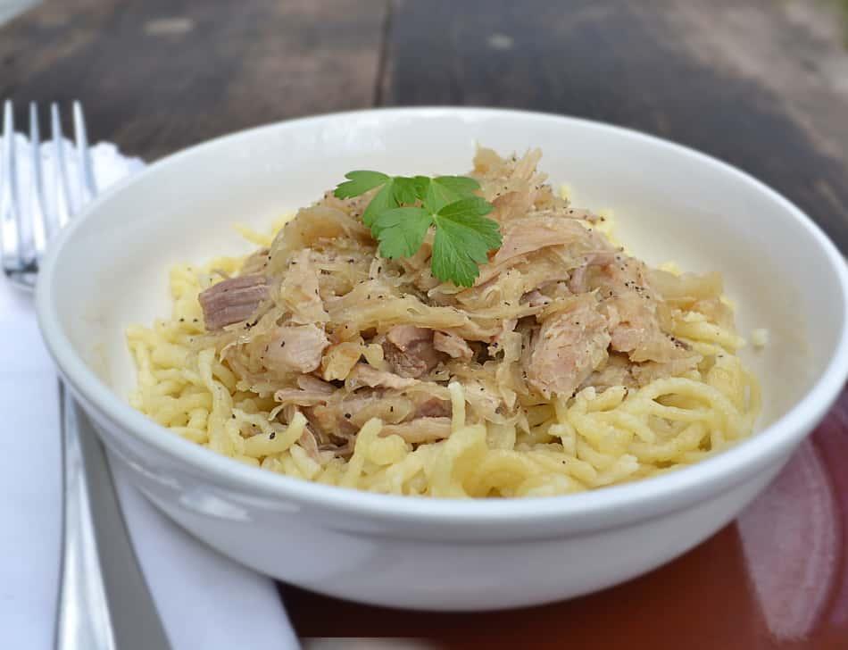 Pork and Sauerkraut with Spaetzle - craftycookingmama.com