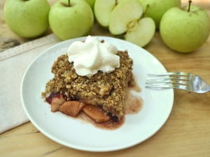 Welcome fall with Apple Cranberry Crisp Crumble | Cinnamon baked apples, a sweet, tart layer of cranberry sauce & a candied, crumbly, buttery oat topping | craftycookingmama.com
