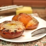 Fresh Peaches Grilled with Honey, Balsamic Vinegar & Gruyere Cheese | craftycookingmama.com