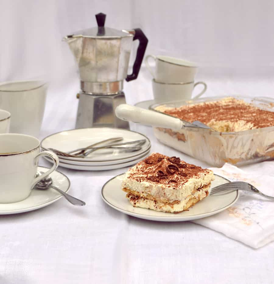 Easy Tiramisu | Made with International Delight Iced Coffee, Kahula, Whipped Cream, Mascarpone, Lady Fingers or Angel Food Cake | www.craftycookingmama.com | #FoundMyDelight