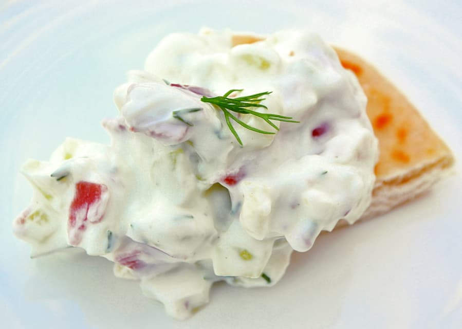 Greek Gyro Dip | Substitute Dried Beef for Shaved Lamb | Who doesn't love a gyro drenched in tzhaki sauce? A simple & authentic tasting recipe | www.craftycookingmama.com