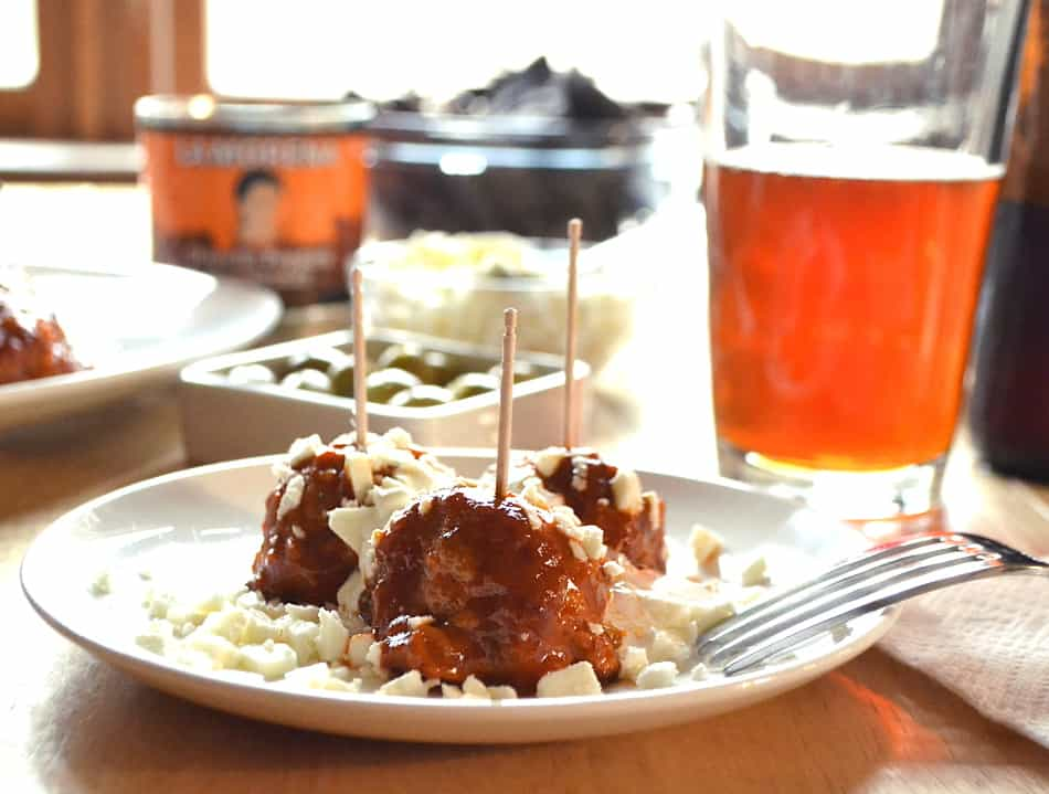 Spicy & Smoky Chipotle Chicken Meatballs | Homemade Chipotle Hot Sauce | Made with La Morena Chipotle Peppers | www.craftycookingmama.com