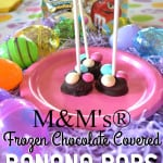 Chocolate Covered Frozen Banana Pops | Chunks of banana dipped in dark chocolate & topped with M&M's® | An easy & perfect anytime sweet snack | www.craftycookingmama.com