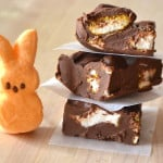 Chocolate Peanut Butter Marshmallow Peeps Fudge | Easy & Effortless - made in microwave & takes less then 5 minutes | Creamy & delicious | www.craftycookingmama.com