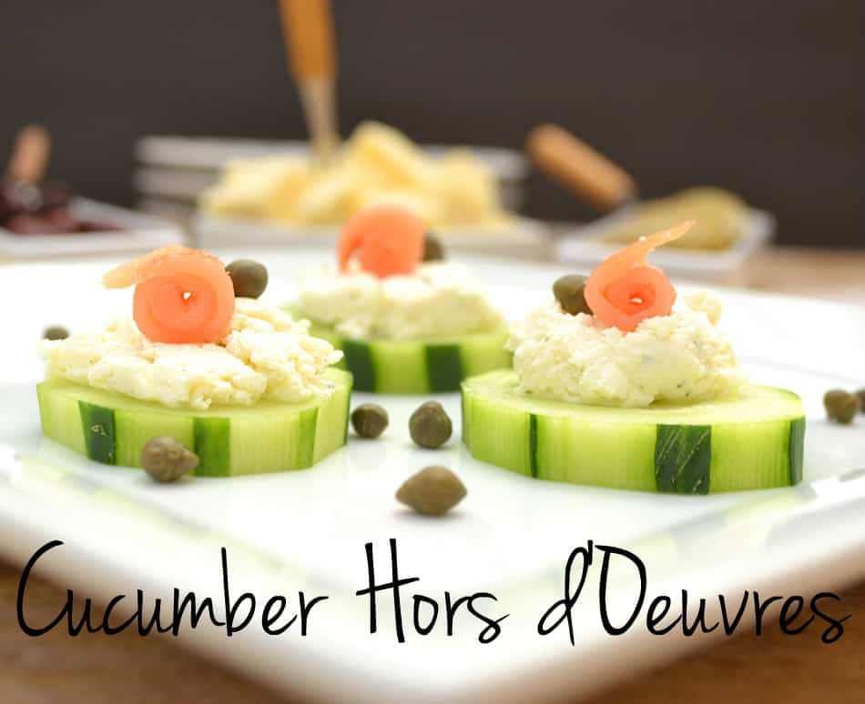 Cucumber hors d 39 oeuvres with garlic herb cheese smoked for Hor d oeuvres recipes