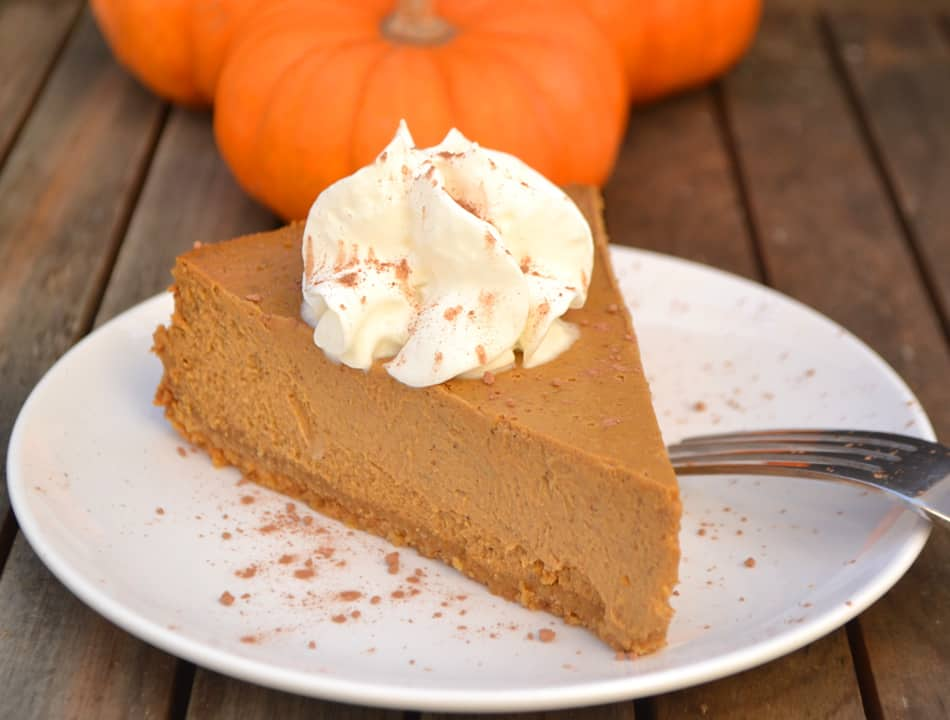 Molasses Pumpkin Cheesecake made with cream cheese & cottage cheese - a decadent, light & fluffy year round treat | www.craftycookingmama.com