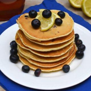 Blueberry & Lemon Olive Oil Pancakes made with Pomora Olive Oil | www.craftycookingmama.com