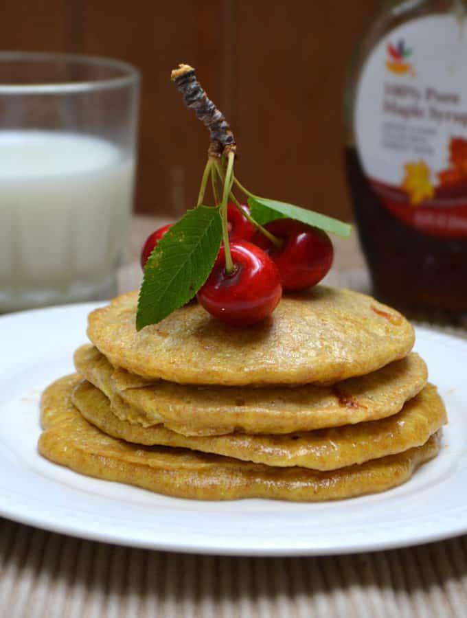Whole Wheat Cottage Cheese Pancakes - Sugar Free & No All-Purpose Flour | www.craftycookingmama.com