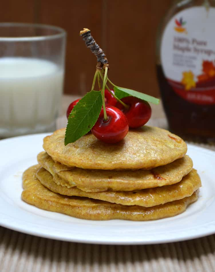 Whole Wheat Cottage Cheese Pancakes - Sugar Free & No All-Purpose Flour | www.craftycookingmama.com