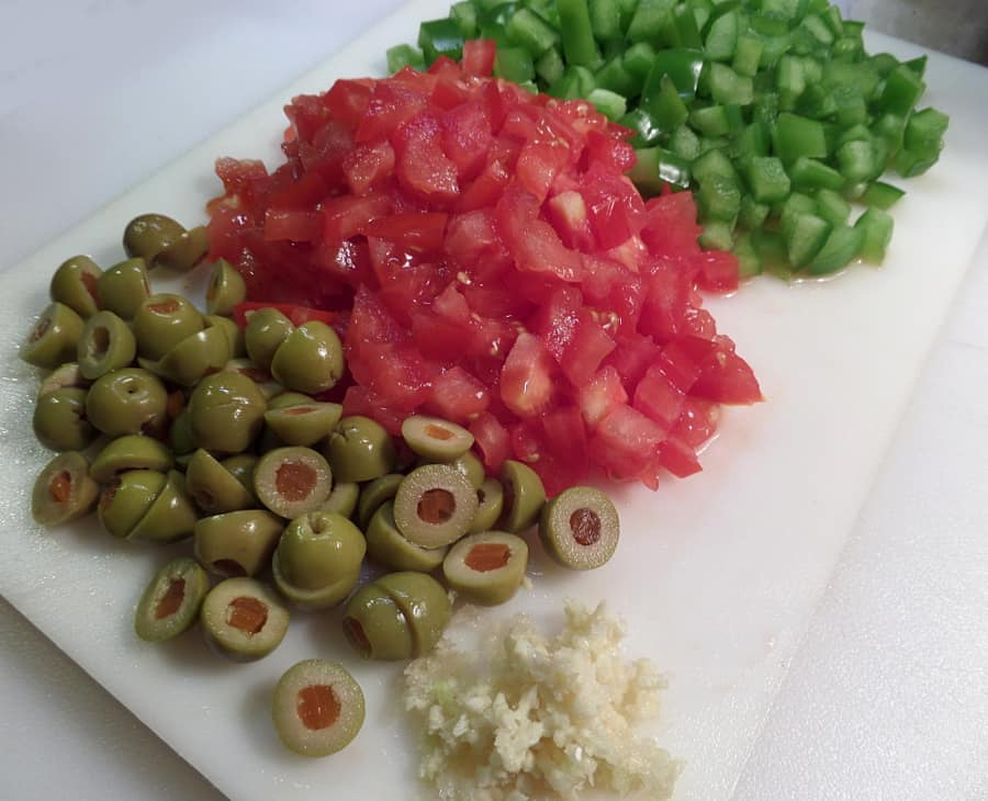 Chopped Veggies and Olives