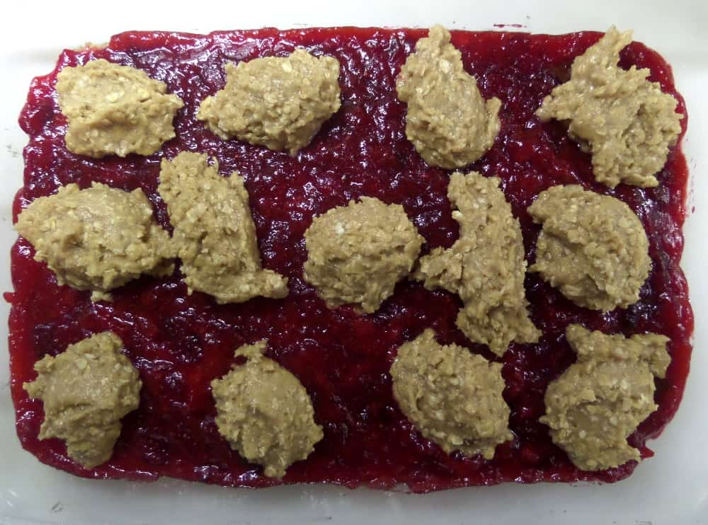 Oatmeal drops for Cranberry Chocolate Bars