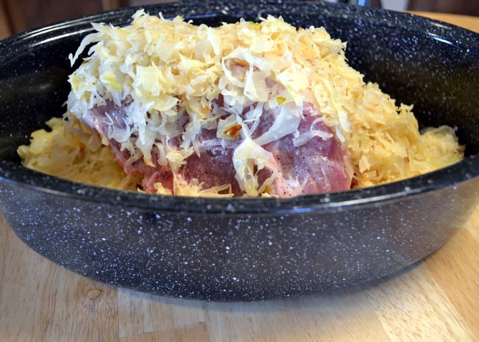 Pork and Sauerkraut in roaster - craftycookingmama.com