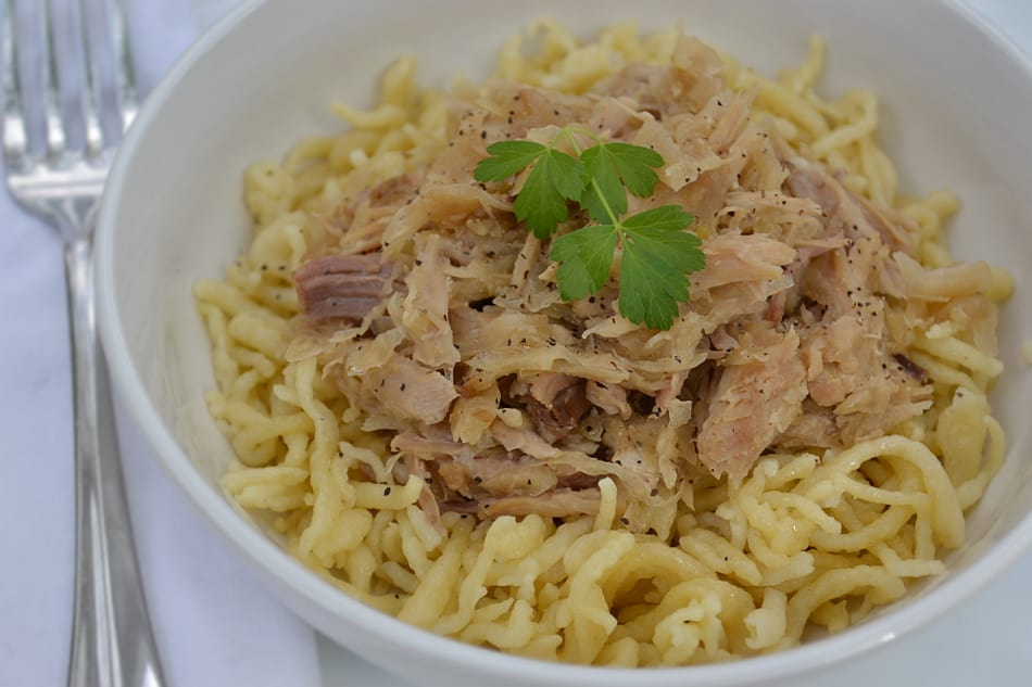 Pork and Sauerkraut with Spaetzle - PA Dutch favorite -craftycookingmama.com