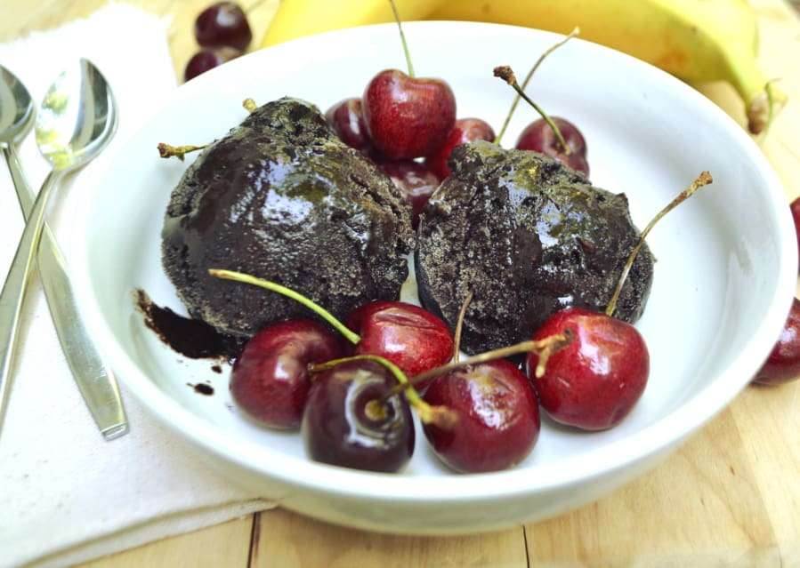 Chocolate Cherry Banana Ice Cream | Made With Just Bananas, Cocoa Powder & Cherries | Healthy, Sugar Free, Dairy Free, Vegan | Creamy, Delicious, Guilt Free | craftycookingmama.com