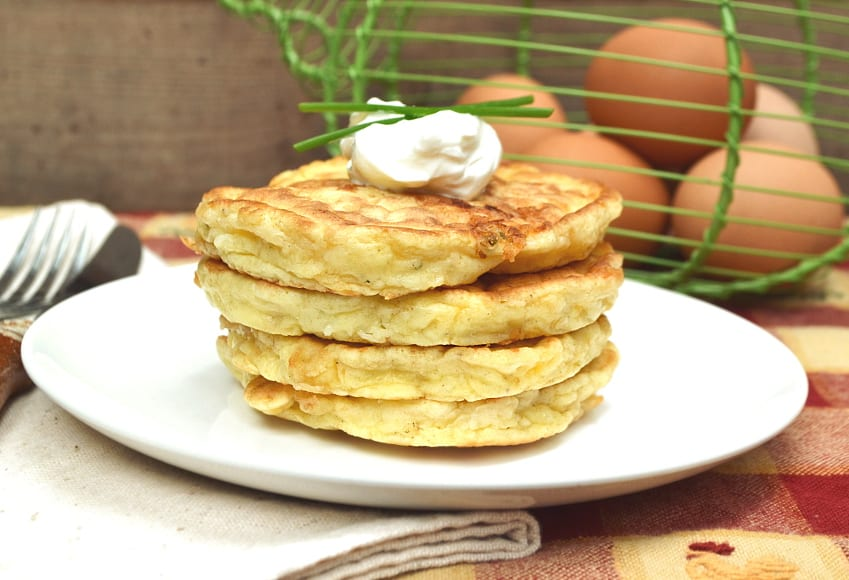 Perfectly Simple & Delicious Egg and Cheese Pancakes / Griddlecakes | Savory Pancakes | Quick, Easy, Different Egg Breakfast | craftycookingmama.com