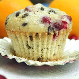 Moist Fresh Cranberry Orange Chocolate Chip Muffins | Quick, Delicious, Easy to Make | craftycookingmama.com