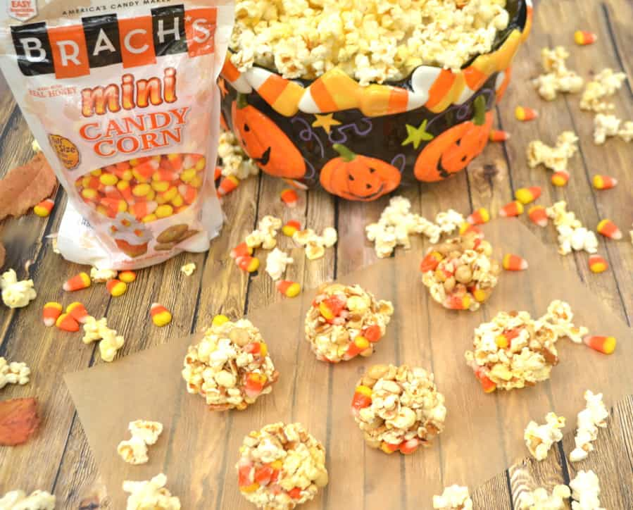 Bringing back an old favorite - Popcorn Balls | Made with Marshmallow, Candy Corn, Pretzels & Peanuts | Kids & Adults Love this Halloween Treat | Brach's Candy Corn | craftycookingmama.com