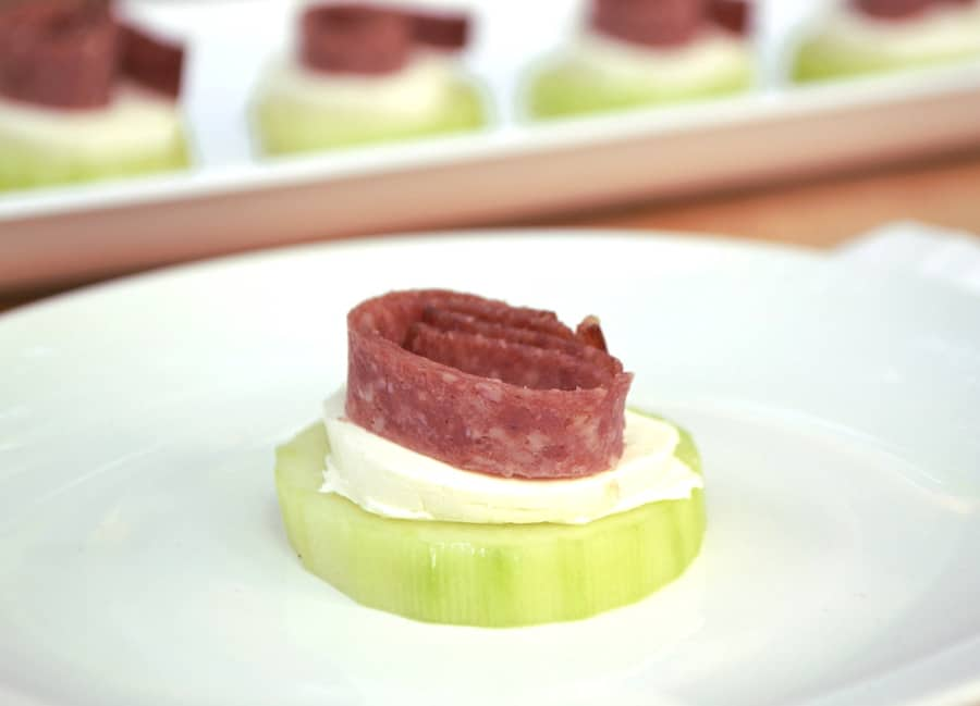 Cream Cheese & Lebanon Bologna Cucumber Hors d'oeuvre | A simple PA Dutch favorite fancied up | Quick and delicious snack or appetizer | www.craftycookingmama.com