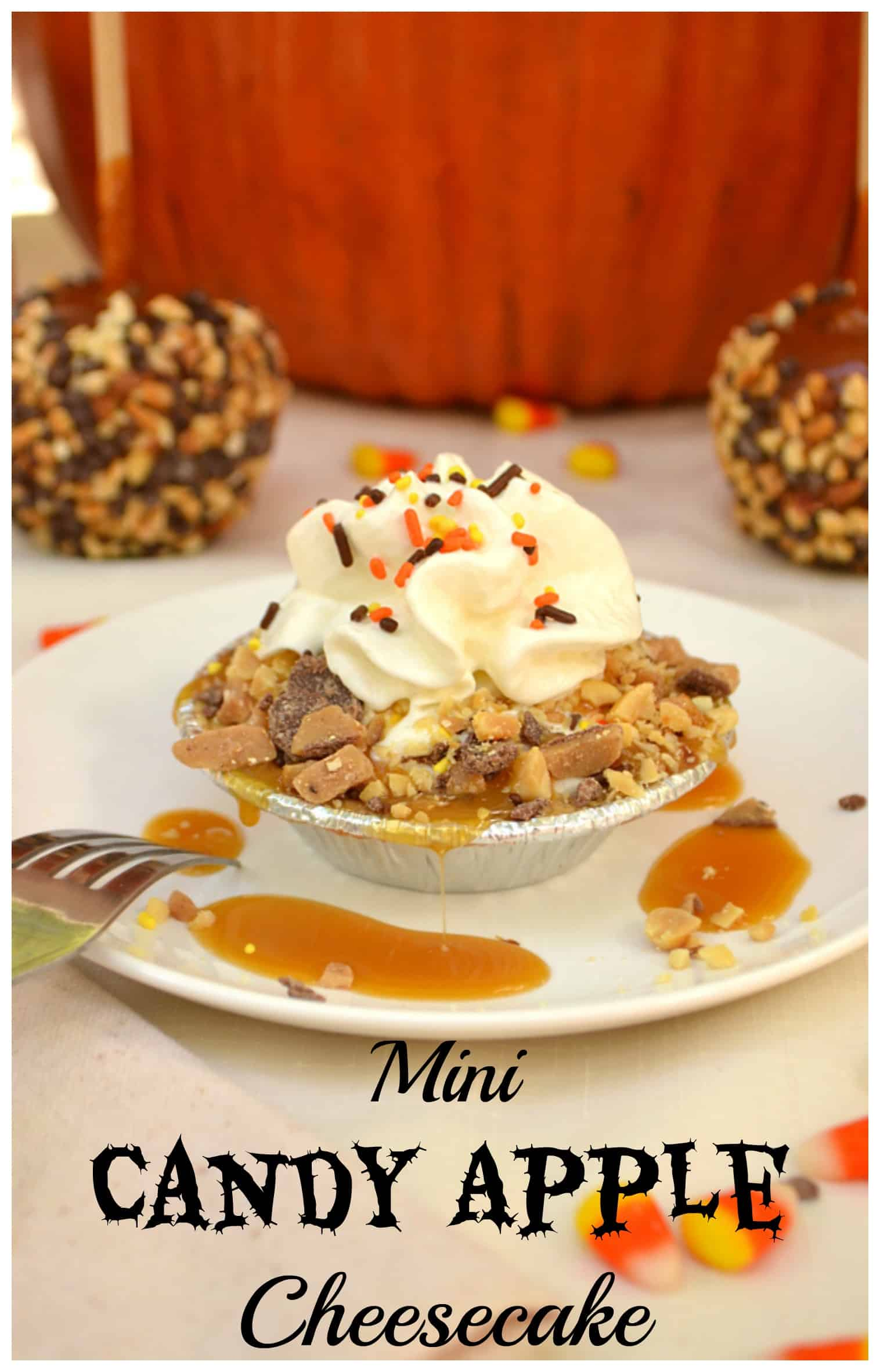 Mini Candy Caramel Apple Cheesecake | No Bake - Quick & Easy | Made with Greek Yogurt | Inspired by Fall Flavors | craftycookingmama.com | #effortlesspies