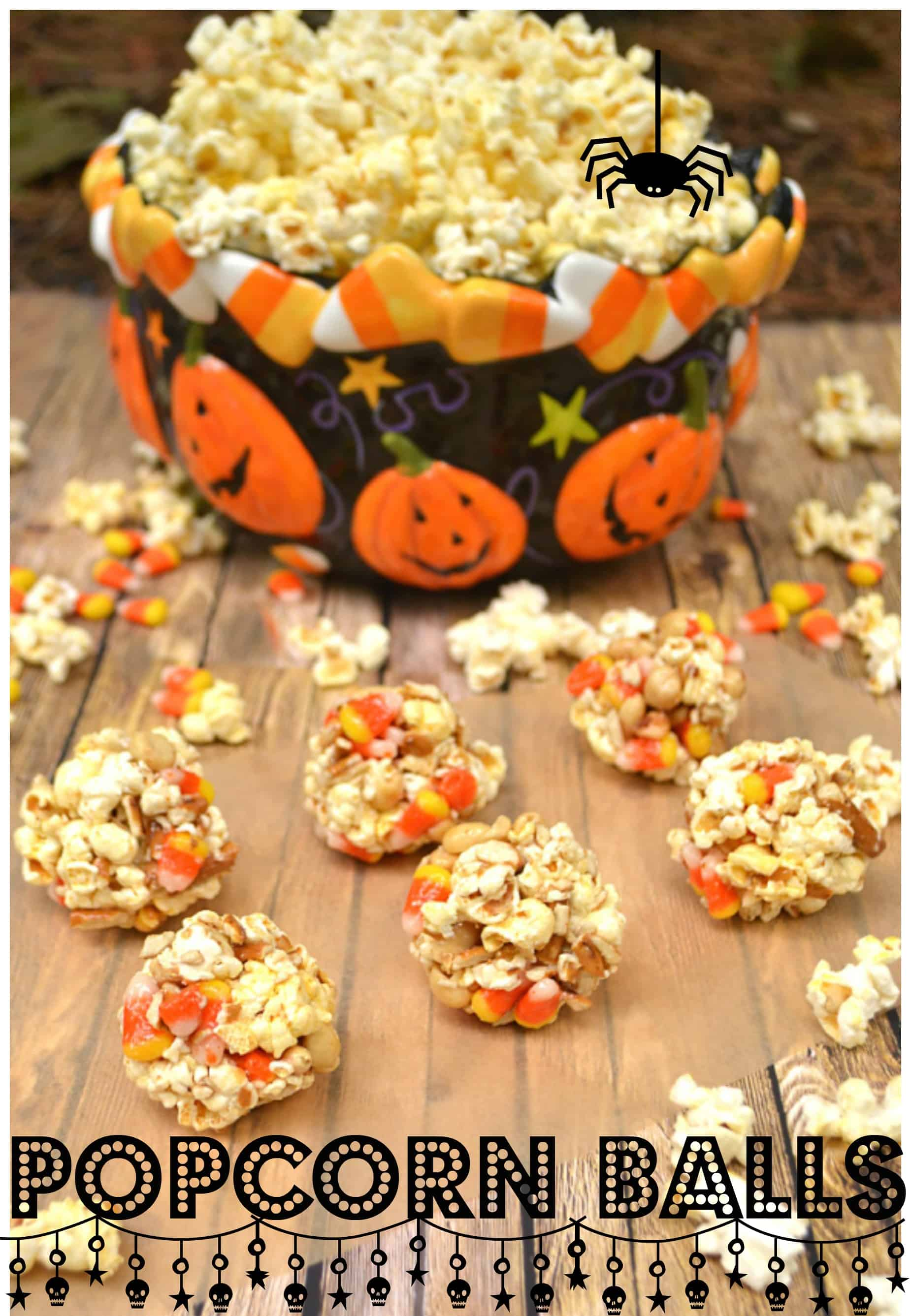 Bringing back an old favorite - Popcorn Balls | Made with Marshmallow, Candy Corn, Pretzels & Peanuts | Kids & Adults Love this Halloween Treat | craftycookingmama.com