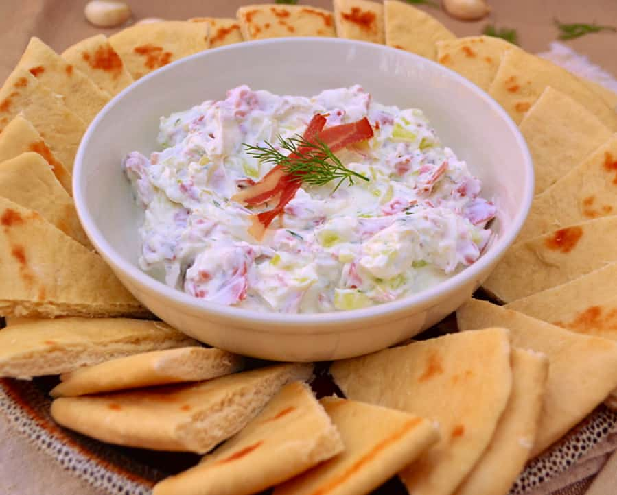 Greek Gyro Dip | Substitute Dried Chipped Beef for Shaved Lamb | Who doesn't love a gyro drenched in tzhaki sauce? A simple & authentic tasting recipe | www.craftycookingmama.com