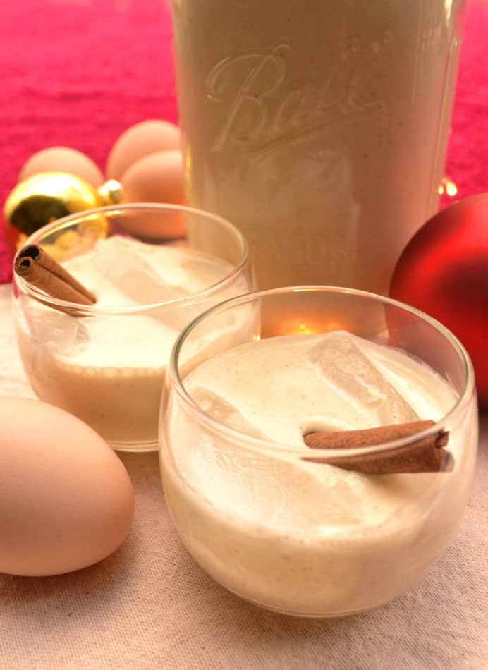 Boozy Eggnog made without the raw eggs | Enjoy this thick, creamy & delicious drink made with heated eggs, cream, brandy and rum | A holiday favorite | www.craftycookingmama.com