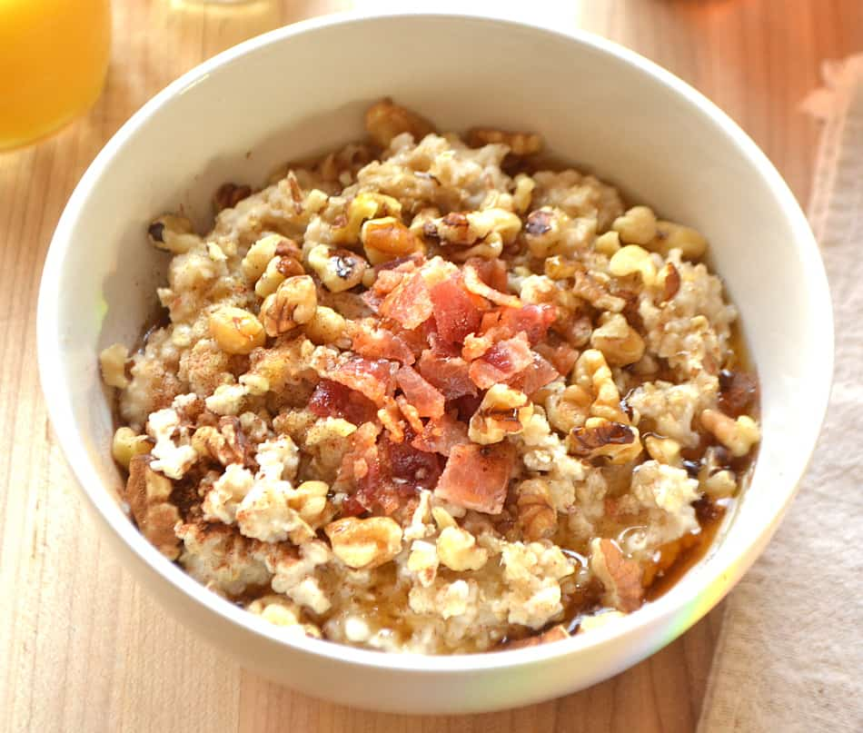My favorite bowl of oatmeal. Made with Quaker Oats, bacon, pure maple syrup, walnuts & brown sugar - yum!