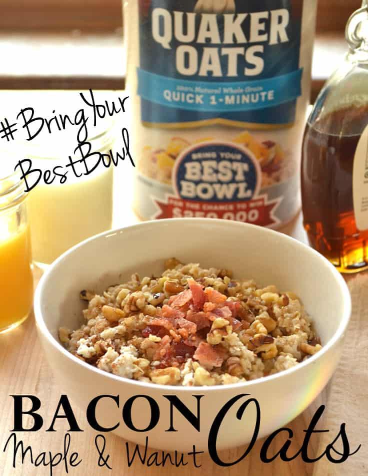 Bacon, Maple, Brown Sugar and Walnut Oats Oatmeal   #BringYourBestBowl   www.craftycookingmama.com