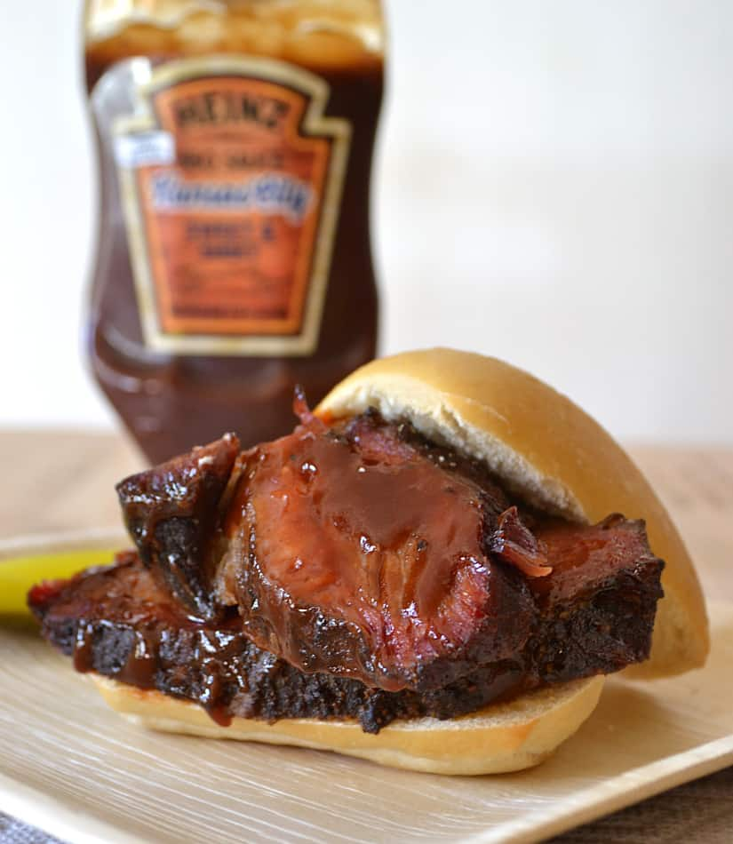 Low & Slow Smoked BBQ Beef Brisket with Heinz Kansas City BBQ Sauce | www.craftycookingmama.com