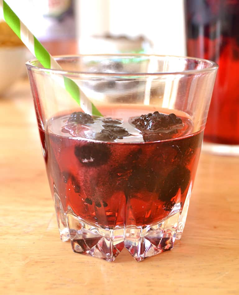 Gin & Canada Dry® Blackberry Ginger Ale with Berry Ice Cubes | Simple, Refreshing, Delicious & Beautiful Springtime Cocktail | www.craftycookingmama.com
