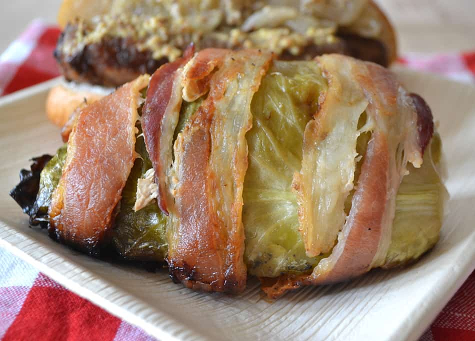 Grilled Cabbage Wedges Wrapped in Bacon | www.craftycookingmama.com