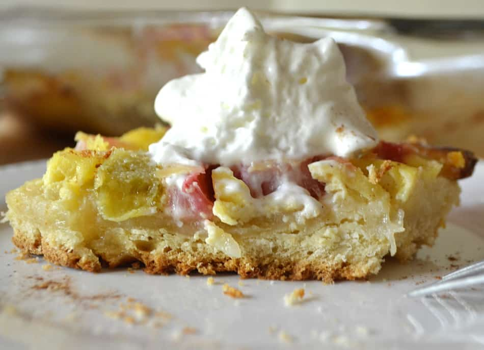 Rhubarb Kuchen | A German Rhubarb & Custard Yeast Cake | www.craftycookingmama.com