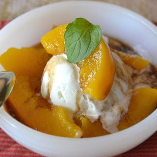 Canned Peaches Made Delicious   Save the Heavy Syrup & Reduce with Balsamic & Served Over Vanilla Ice Cream   www.craftycookingmama.com
