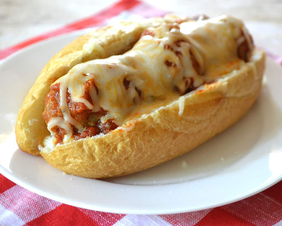 Family Favorite Meatball Sandwich with Red Sauce | Quick, Easy & Delicious | www.craftycookingmama.com