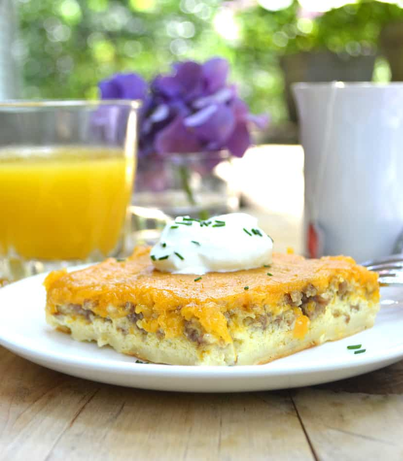 Sausage, Egg & Cheese Breakfast Bake Casserole - Start your morning right with a hearty & delicious meal - A family favorite & easy to make | www.craftycookingmama.com