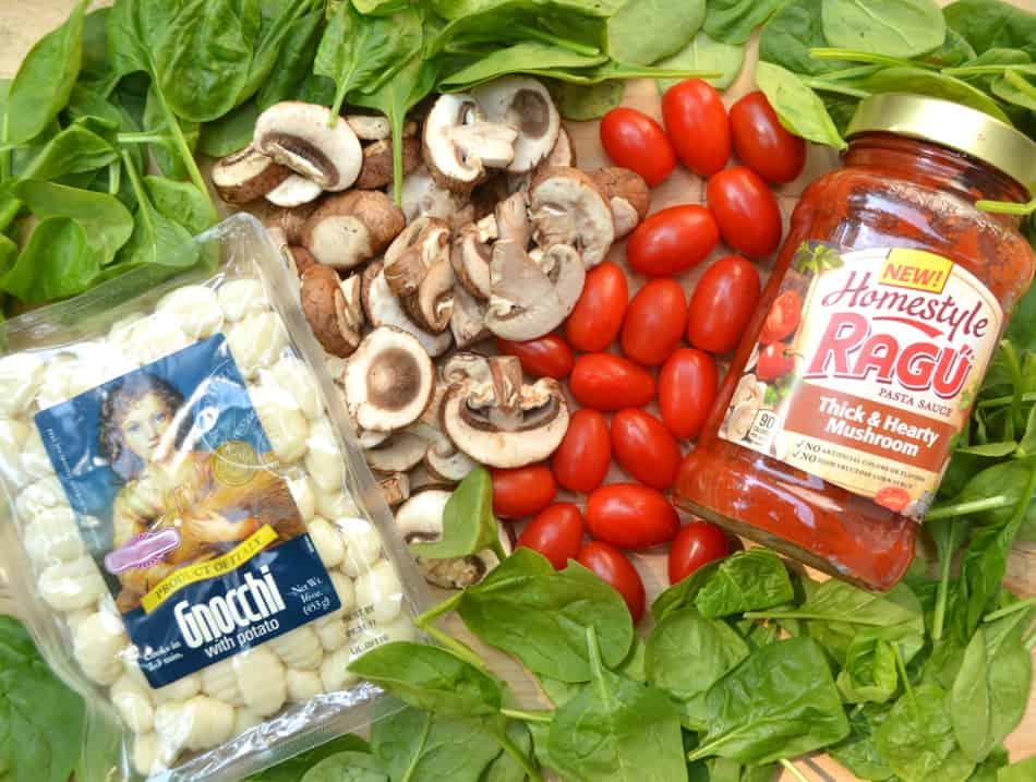 Cheesy Tomato, Mushroom & Spinach Baked Gnocchi - Quick, Easy & Delicious   www.craftycookingmama.com