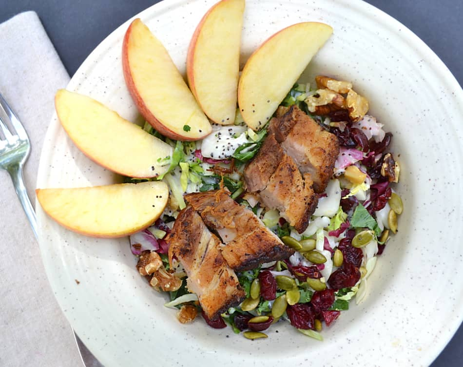 Kale Salad with Roasted Crispy Pork Belly | www.craftycookingmama.com