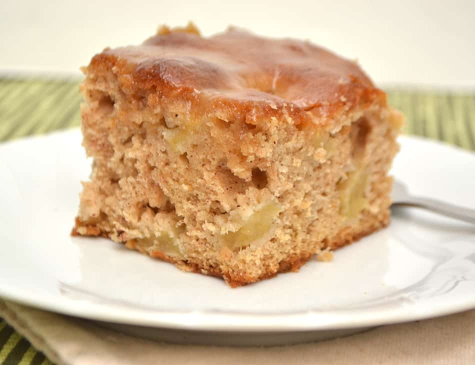 A light & fluffy apple cake with a sweet buttery caramel glaze. Easy, simple & delicious | www.craftycookingmama.com
