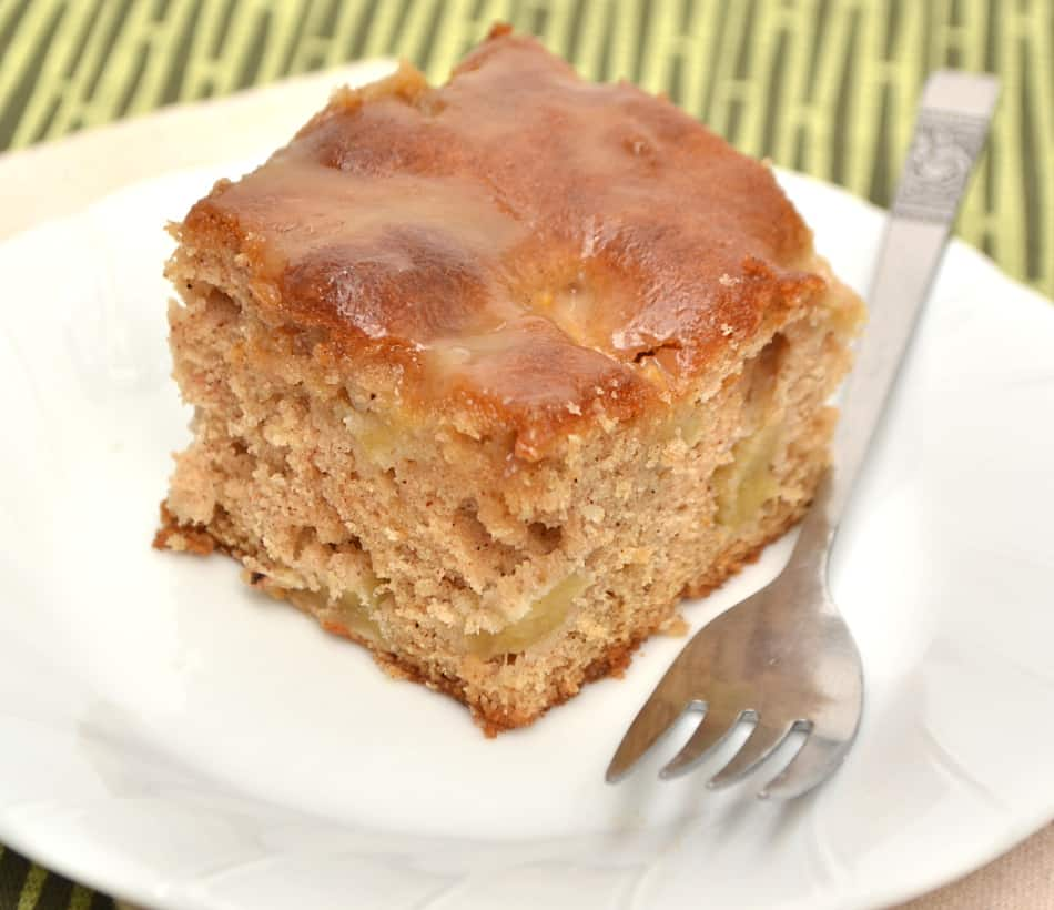 A light & fluffy apple cake with a sweet buttery caramel glaze. Easy, simple & delicious   www.craftycookingmama.com