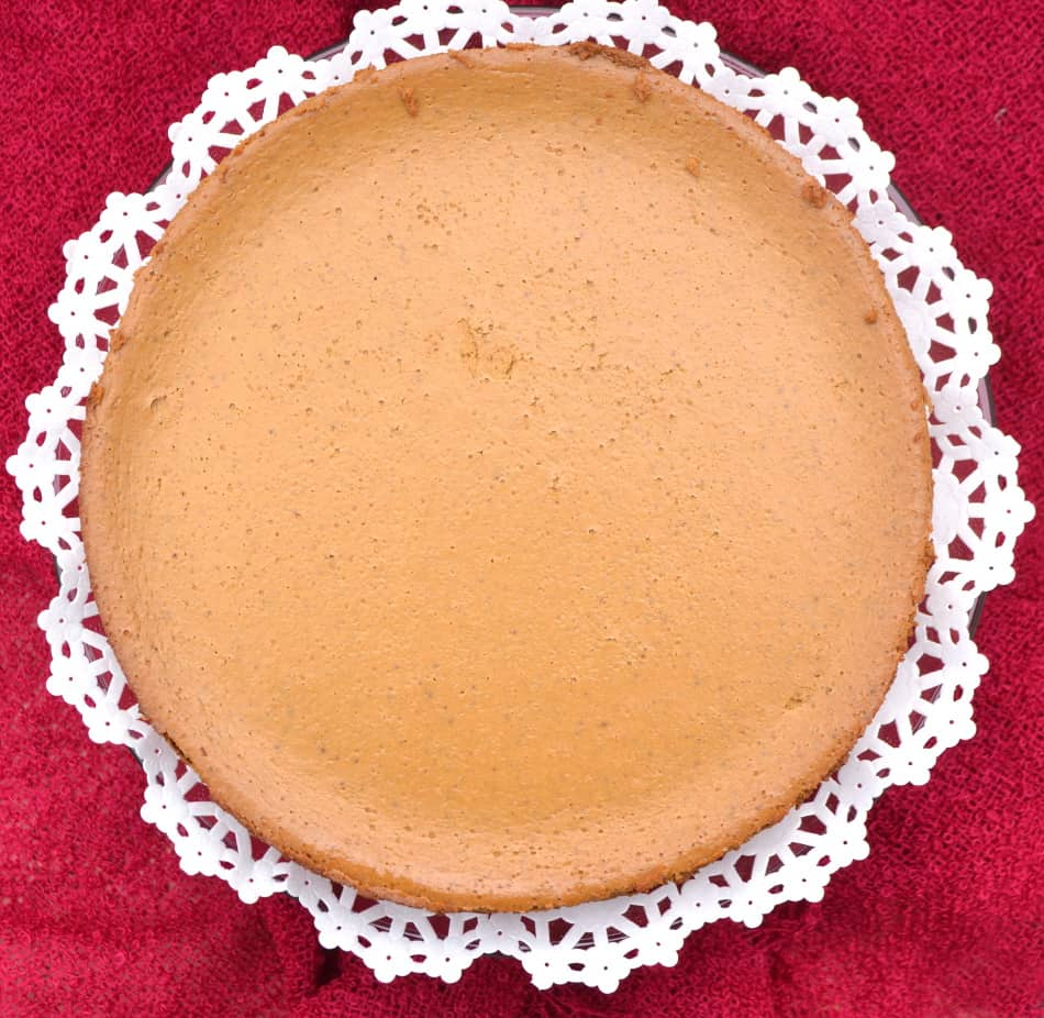 Molasses Pumpkin Cheesecake made with cream cheese & cottage cheese - a decadent, light & fluffy year round treat   www.craftycookingmama.com