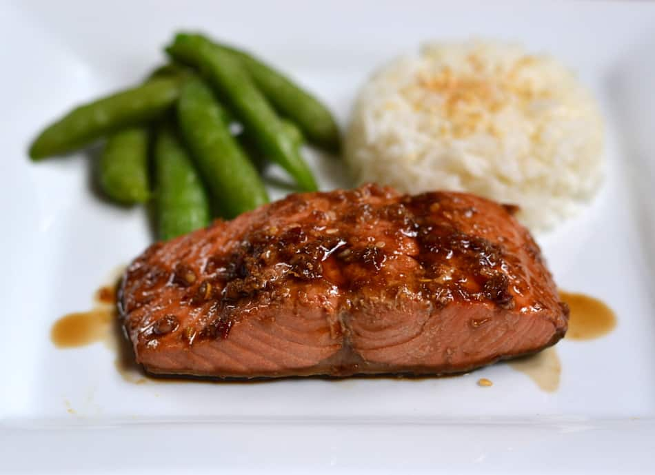 Moist & Flavorful Alaska Salmon Poached in Soy Sauce, Garlic & Ginger.  Takes less than 15 minutes to make | www.craftycookingmama.com