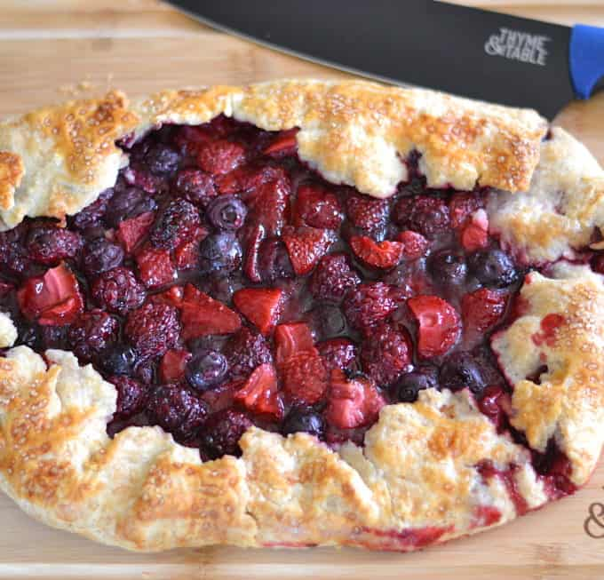 Mixed Berry Galette made with strawberry, blueberry & blackberry. It's rustic, beautiful, delicious and so simple to make   www.craftycookingmama.com