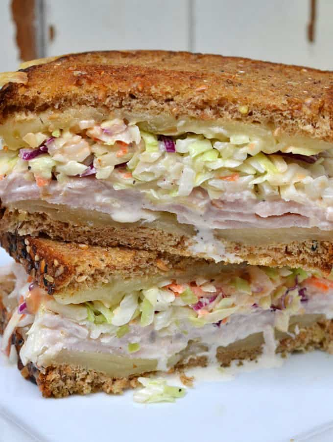 The Rachel Sandwich - grilled with swiss cheese and topped with turkey & coleslaw | www.craftycookingmama.com