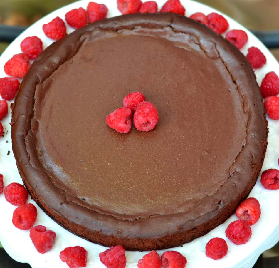 Chocolate Ricotta Cheesecake with Raspberries