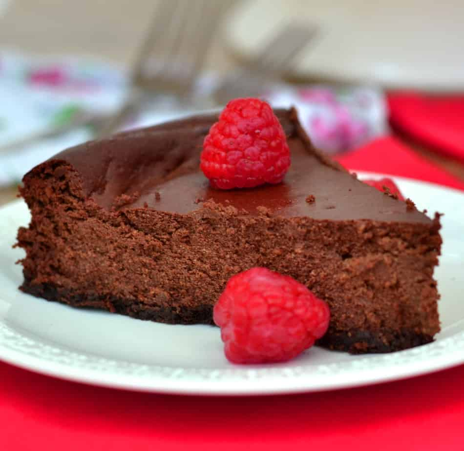 Dark Chocolate Ricotta Cheesecake with Raspberries