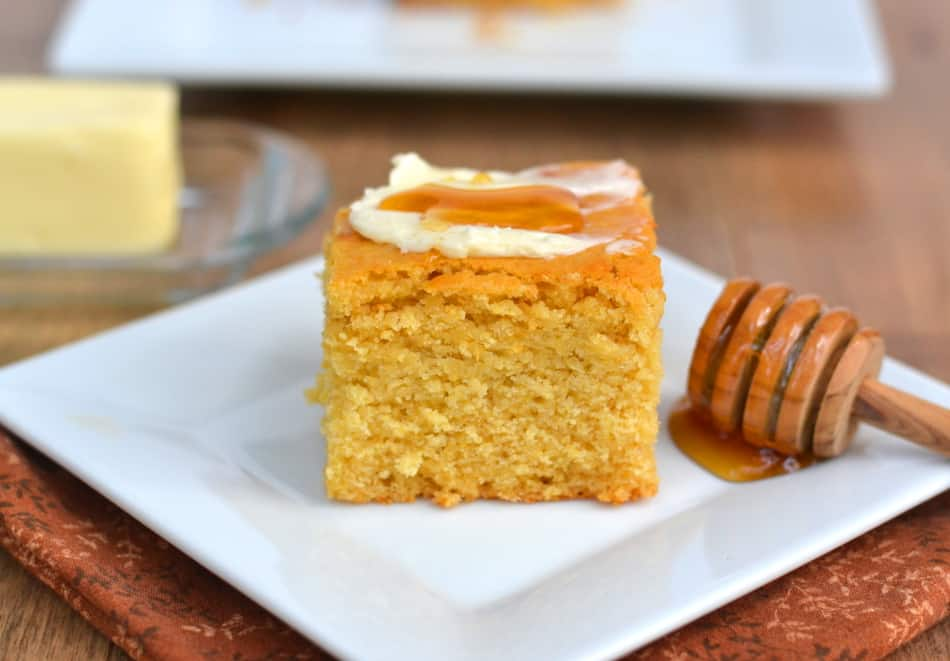 Tender, Moist, Sweet & Rustic Honey Cornbread | www.craftycookingmama.com