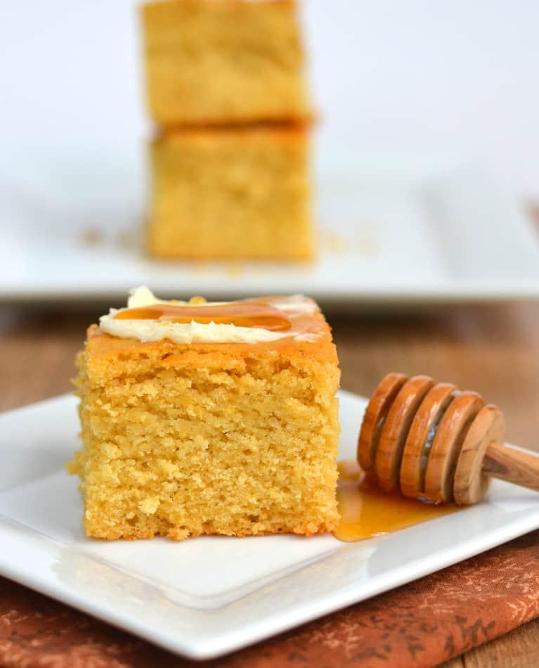 Tender, Moist, Sweet & Rustic Honey Cornbread | www.craftycookingmama.com