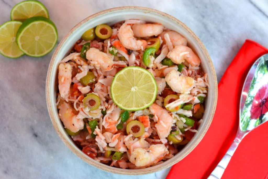 Spanish Seafood Salad w/ Shrimp, Crab & Octopus.