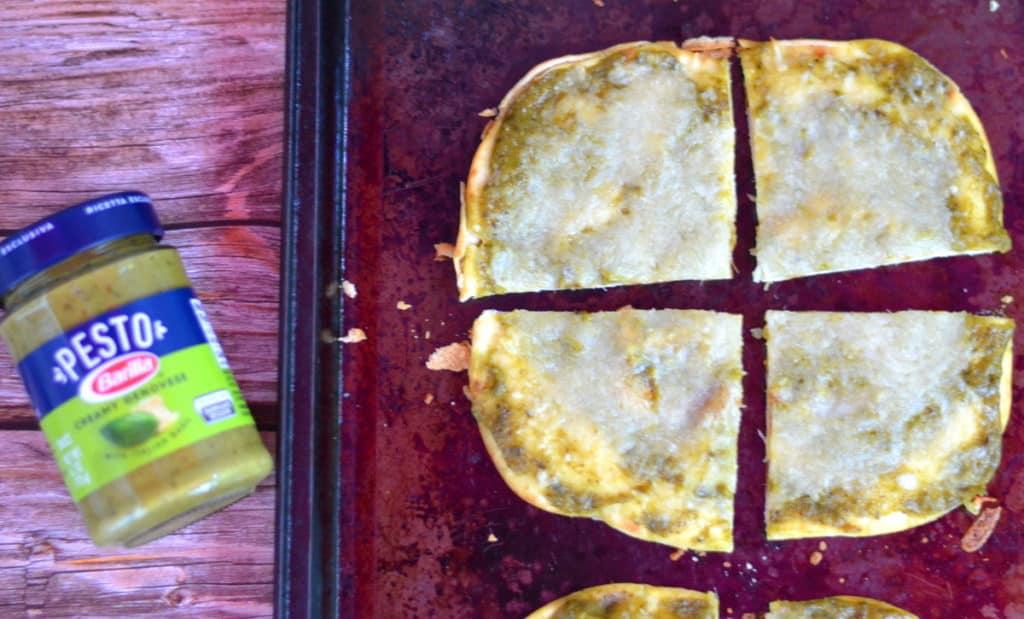 Pesto Pizza - Pesto on Flatbread with Cheese